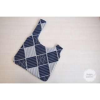 日式手挽袋 - 藍色格仔海浪