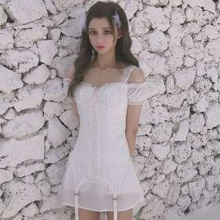 🚚 【週末女孩】訂製款 日韓公主風天使系吊帶連身洋裝 吊帶造型甜美蓬蓬袖洋裝 甜美繫帶蕾絲細肩帶雪紡洋裝 OT051