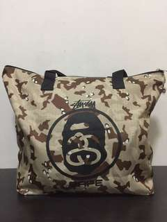 stussy x bape tote bag ❌ ori used like new