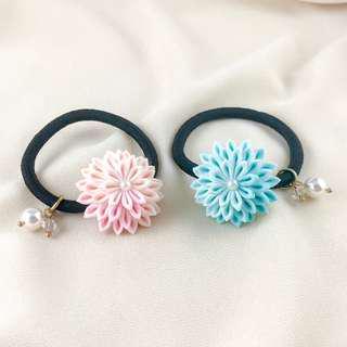 🚚 Kanzashi hair tie with crystal and pearl charm, pearl charm hair tie, crystal charm hair accessories, pearl hair bracelet, crystal hair