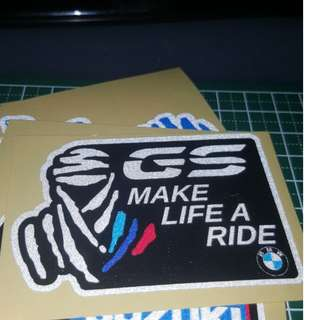 Make Life a Ride BMW reflective stickers