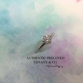Mint Authentic Tiffany & Co Solitaire Diamond 0.32ct Platinum Ring VVS2 H 3EX PT950
