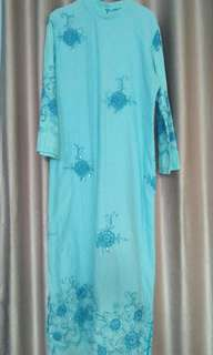 Gamis biru bunga payet