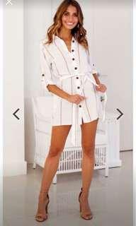 White Stripes Long sleeves Polo Dress