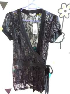 Forever 21 Black Lace wrapover Top