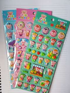 [BN] 3D Cute Pig Puffy Stickers (All 3 versions)