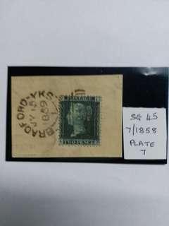1858年英國2便士實寄全蓋印