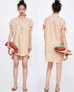 OshareGirl 06 歐美女士棉麻純色V領連身裙洋裝