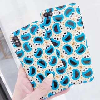 手機殼IPhone6/7/8/plus/X : 芝麻街CookieMonster全包黑邊光面軟殼