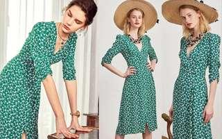 OshareGirl 06 歐美女士法式風格印花皺摺五分袖連身裙洋裝