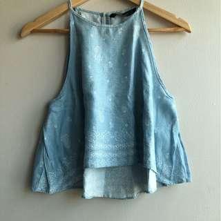 Zara Basic Blue Sleeveless Blouse