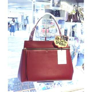 Celine Red Leather Edge Shoulder Handbag Hand Bag 塞利 紅色 牛皮 皮革 手挽袋 手袋 肩袋 袋