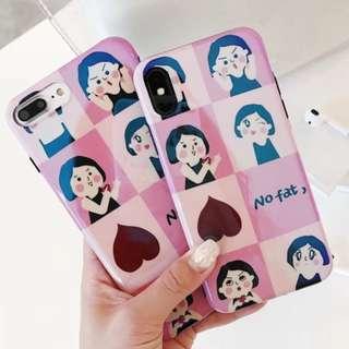 手機殼IPhone6/7/8/plus/X : 可愛胖女生八宮格藍光全包黑邊軟殼