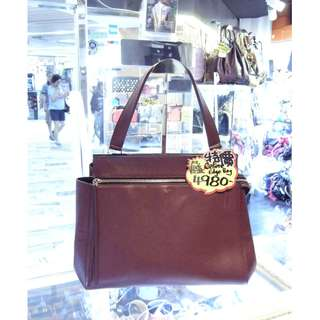 Celine Wine Red / Brown Red Leather Edge Shoulder Handbag Hand Bag 塞利 酒紅色 / 啡紅色 牛皮 皮革 手挽袋 手袋 肩袋 袋