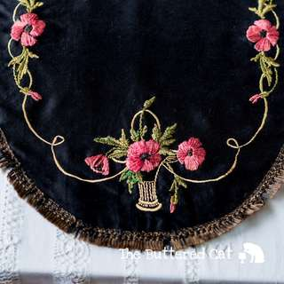 Beautiful antique embroidered society silk mat, table centre, table topper, red poppies on black, green ribbon border