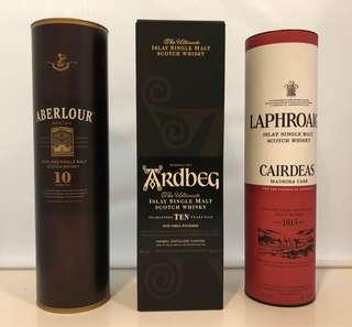 Aberlour, Ardbeg, Laphroaig Whisky 威士忌吉盒 共3個