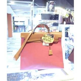 Hermes Rose Pink Canvas / Brown Leather Classic Herbag 40cm Shoulder Handbag Hand Bag PHW 愛馬仕 桃粉紅色 帆布 / 啡色 牛皮 皮革 經典款 40公分 銀扣 手挽袋 手袋 肩袋 袋