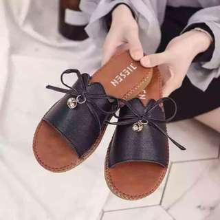 Leather Ribbon Slippers Size 35-39
