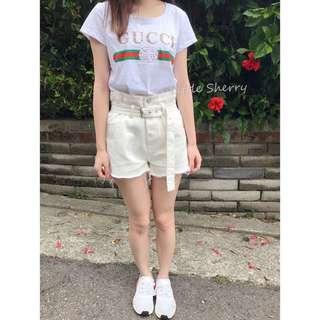 🚚 花苞高腰腰帶丹寧牛仔短褲(白)