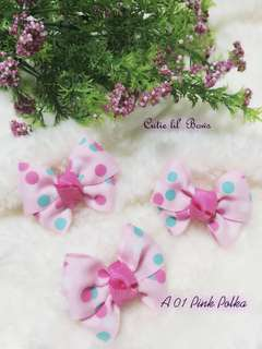 Instocks Pink polka Butterfly hairbow