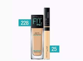 Maybelline Fit Me Poreless Liquid Foundation & Fit Me Concealer Makeup Bundle
