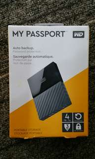 New WD 4TB Portable HDD Hard Disk Drive My Passport 4.0 TB external Western Digital 2.5  USB 3.0 interface, ultra fast, no adapter needed.