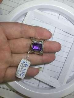 13号圈口 紫水晶 手工银戒指 不议价