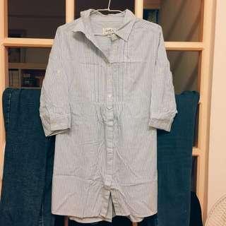 Arnold Palmer七分袖條紋襯衫洋裝