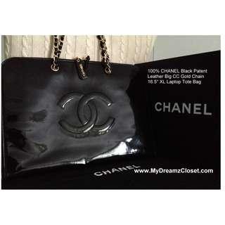 """100% CHANEL Black Paten Kulit Big CC Gold Chain 16,5 """"XL Laptop Tote Bag"""