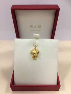 周大福925純銀 (鍍999 黃金) 狗年生肖吊墜連盒,全新,吊墜連扣高約2cm, Chow Tai Fook sterling silver zodiac dog pendant with 999 gold-plated