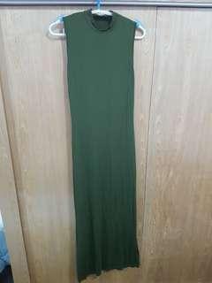 Army green bodycon sleeveless dress