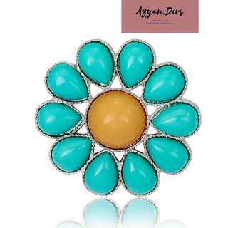 Hippy Turquoise Stone Brooch