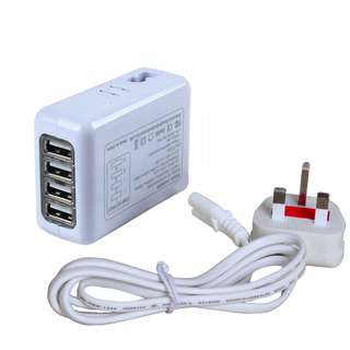 894. 4-Port USB UK Travel Charger 5.4A 1.2m power cord wiht UK Plug for Mobile Phone,PDA,Music Player,Bluetooth headset, Game Console,GPS,Digital Camere and more
