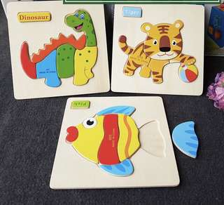 🚚 Wooden Puzzle for toddler children kids torn tolerance educational product children dAy gift idea