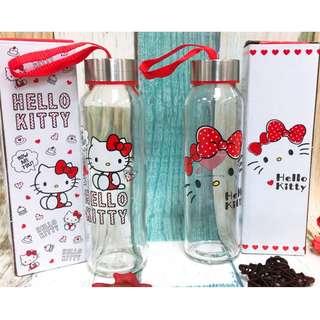 Hello Kitty 玻璃水瓶 KT 耐熱玻璃水瓶 水瓶 隨手瓶 全新 現貨 正版 三麗鷗 可愛 台灣製造