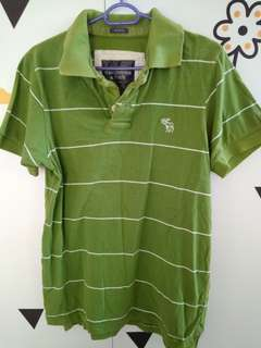 Abercrombie & Fitch green stripes Polo Tee