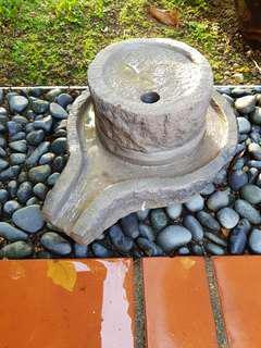 Natural Stone Water Fountain Soya Bean / Rice Mortar Grinder