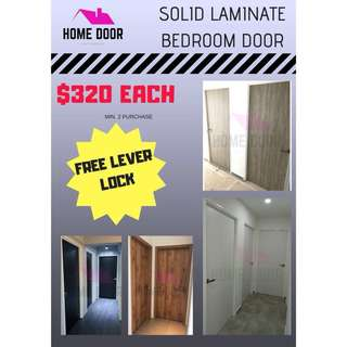 Solid Laminate bedroom door for HDB/BTO