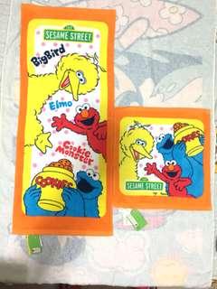 Sesame Street 芝麻街長毛巾 + 大方巾各1(Brand new)