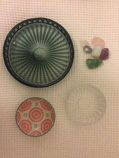 Jewellery/makeup holders + crystals