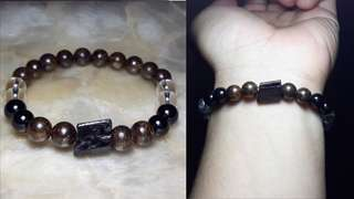 RESERVED! Black Tourmaline Bronzite and Clear Quartz Protection Bracelet