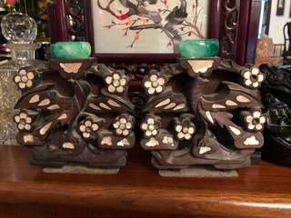 Rosewood mother of pearl bookends