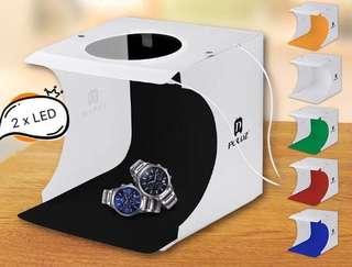 小型 LED 攝影棚 Photography Light Box 雙LED 燈 連六色佈景布