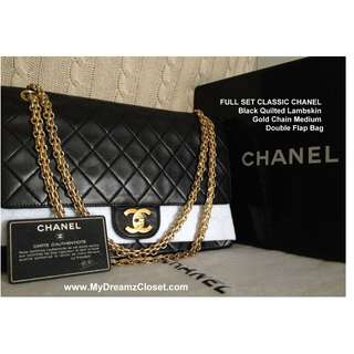 FULL SET CLASSIC CHANEL Hitam Quilted Lambskin Gold Chain Medium Flap Bag Double