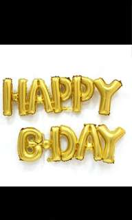 Happy birthday 鋁氣球 金色藍色 生日派對party場地佈置