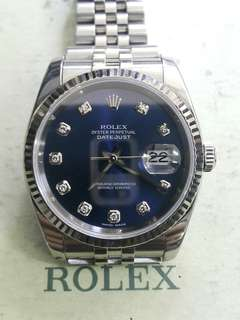 Rolex oyster 116234 blue diamond dial