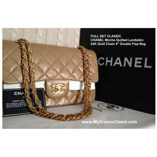 "SET LENGKAP CLASSIC CHANEL Mocha Quilted Lambskin 24K Gold Chain 9 ""Double Flap Bag"