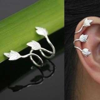 Triple Leaf Helix Ear Cuff