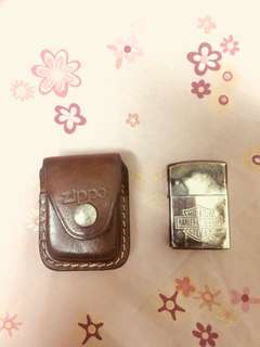 zippo and leather pouch (used)