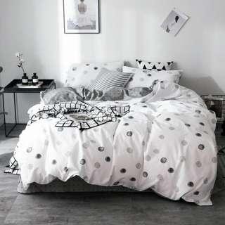 【預購】H - 黑旋:棉質*床包/床笠組(尺寸:標準/加大)_免運。